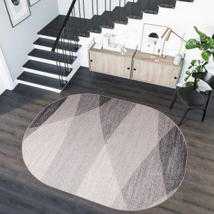 Sari Tappeto Ovale Salotto Moderno Beige Geometrico A Pelo Corto