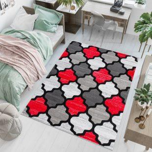 Pimky Tappeto Moderno Rosso Grigio Geometrico A Pelo Corto Morbido