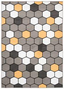 Pimky Tappeto Moderno Arancione Geometrico A Pelo Corto Morbido