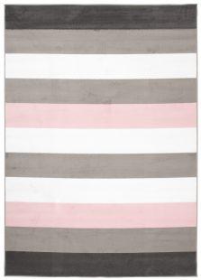Pimky Tappeto Bianco Grigio Rosa Geometrico A Pelo Corto Morbido